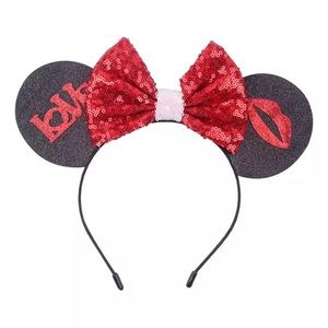 Minnie Mouse Love & Kiss Sequin Headband with Bow